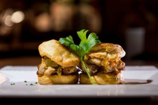 Soco Slow-Roasted Barbeque-Glazed Pork Belly Biscuits